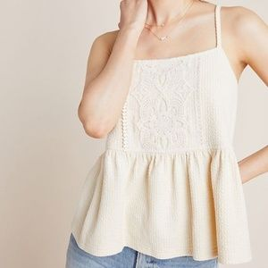 Cream Embroidered Lace Peplum Top